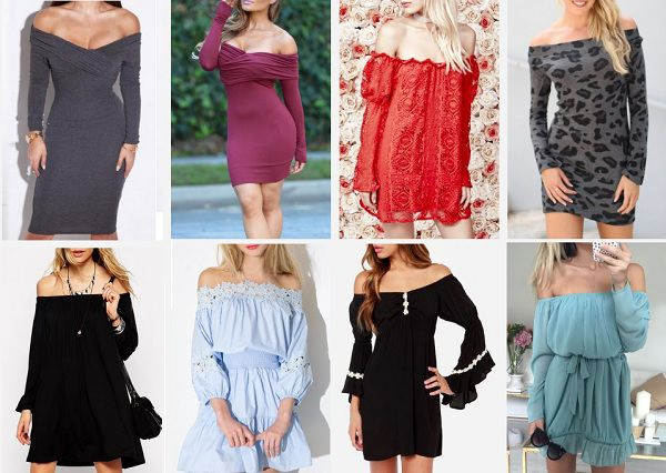 off the shoulder long sleeve dresses