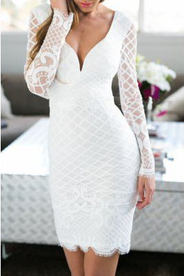 white long sleeve bodycon dresses