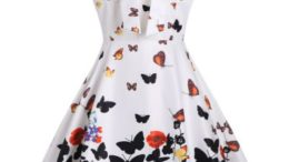 Butterfly Print Halter A Line Dress
