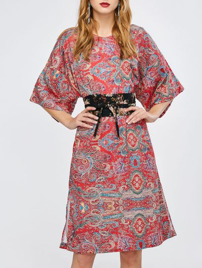 Ethnic Print Slit Kimono Dress