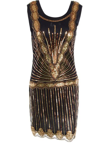 Stunning Women's Wavy Hem Sequined Dress - Black And Golden