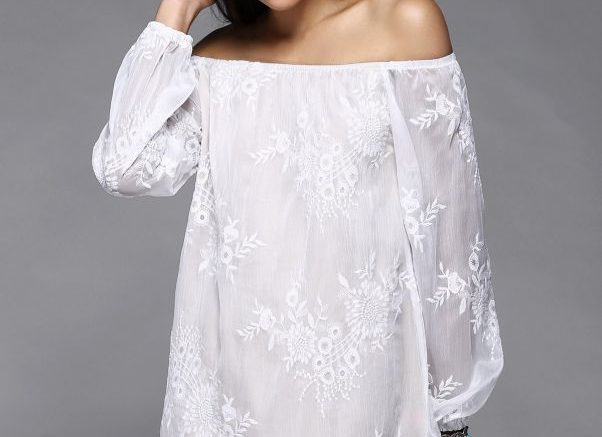 Off The Shoulder Puff Sleeve Embroidered Casual Wedding Dress