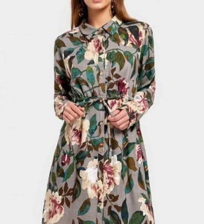 Button Up Floral Print Shirt Dress