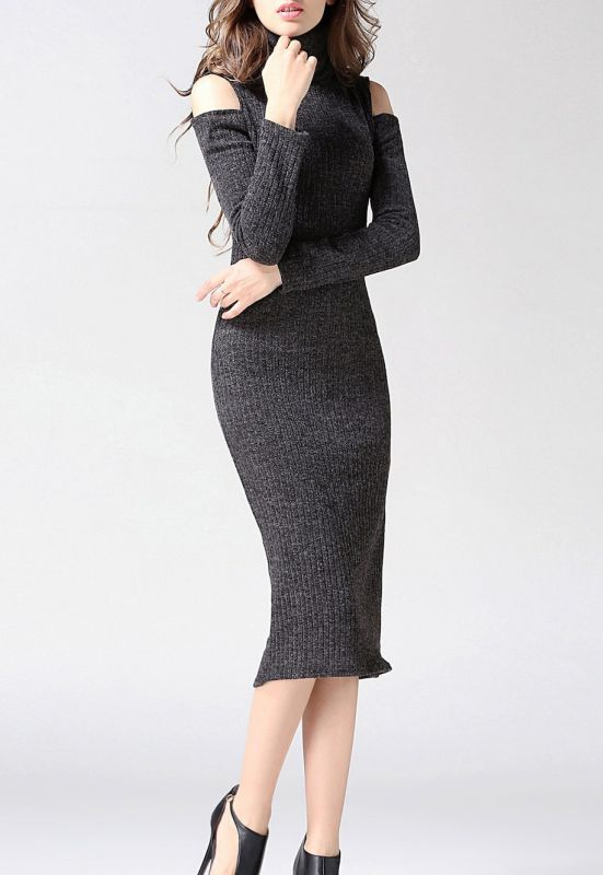 Turtleneck Open Shoulder Bodycon Midi Knit Dress