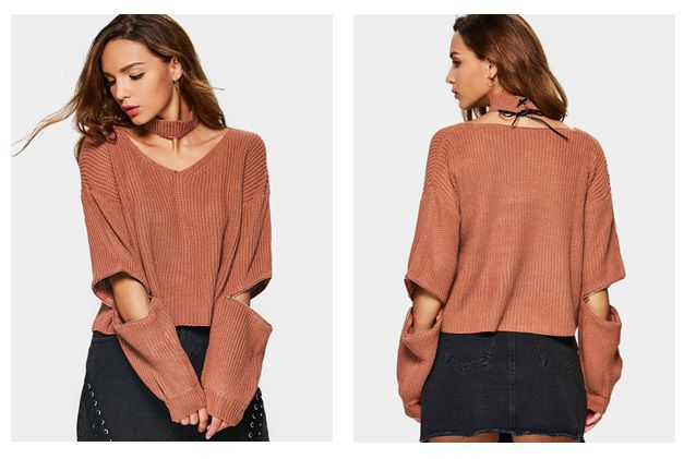 Zipper Sleeve Choker Sweater
