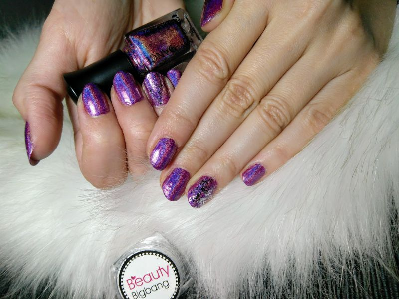 Dark Purple Holographic Nail Polish Hologram Effect Glitter Polish (2)