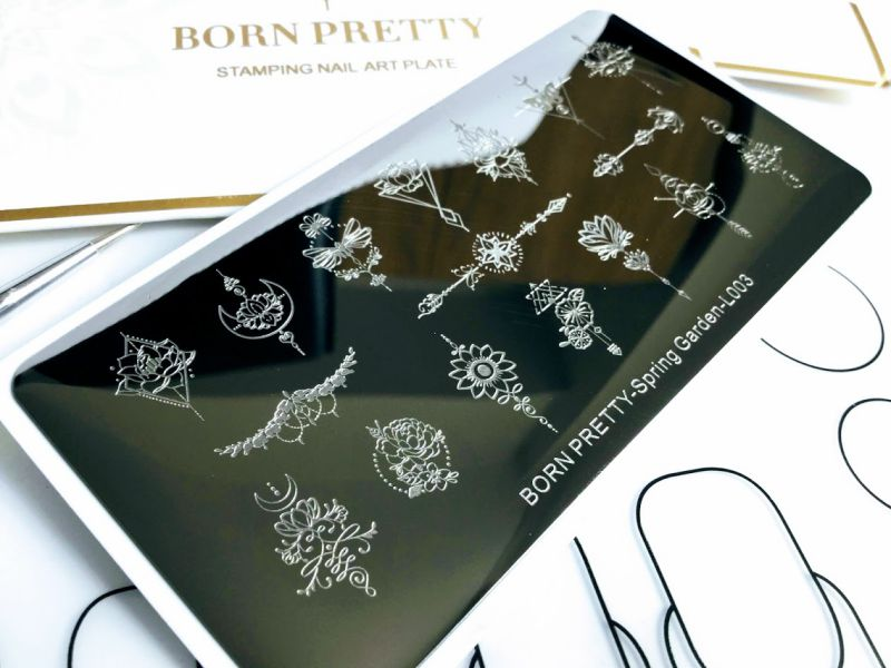 BORN PRETTY Stamping Template Rectangle Flower Arrow Nail Art Image Plate Spring Garden L003