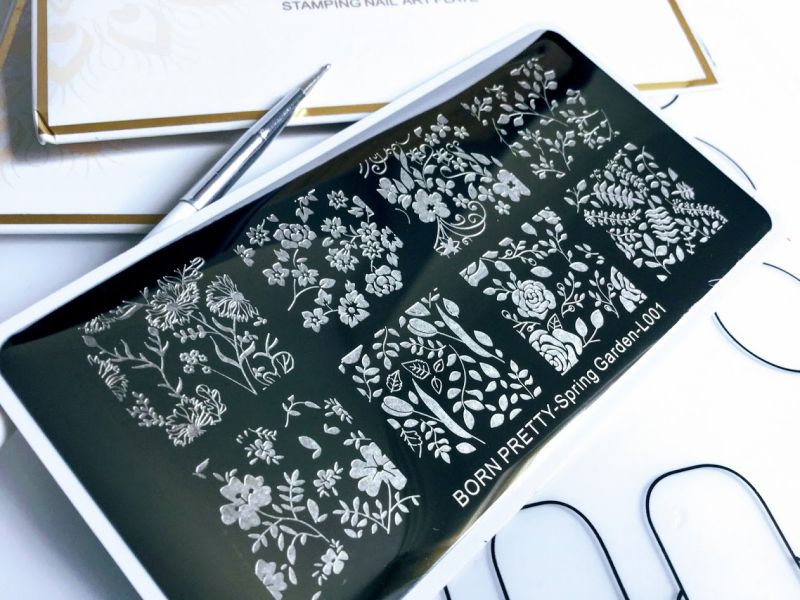 BORN PRETTY Stamping Template Rectangle Flower Leaf Nail Art Image Plate Spring Garden L001