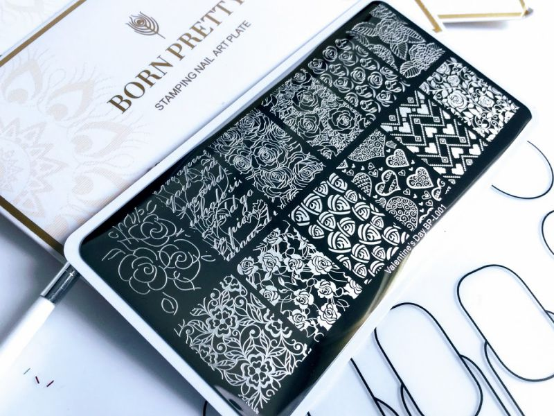 BORN PRETTY Stamping Template Rectangle Rose Flower Nail Art Image Plate Valentine's Day BP-L001