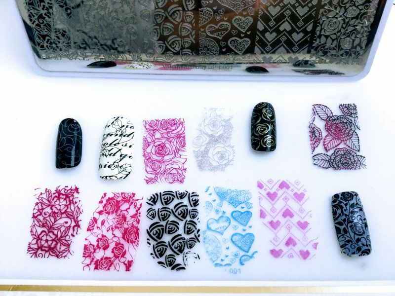 Stamping Template Rectangle Rose Flower Nail Art Image Plate Valentine's Day BP-L001
