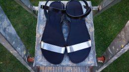 Sandale din piele naturală FUNKY CASUAL, ARGINTIU-NEGRU