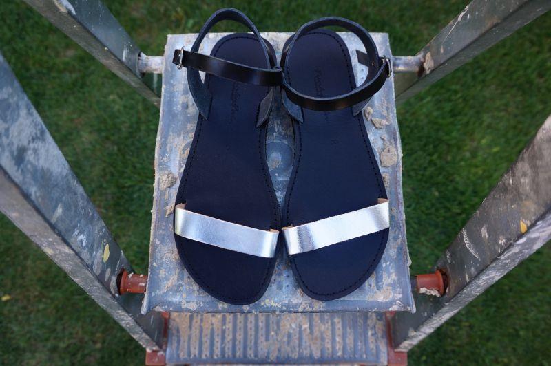 Sandale tapla joasa din piele naturală FUNKY CASUAL, ARGINTIU-NEGRU