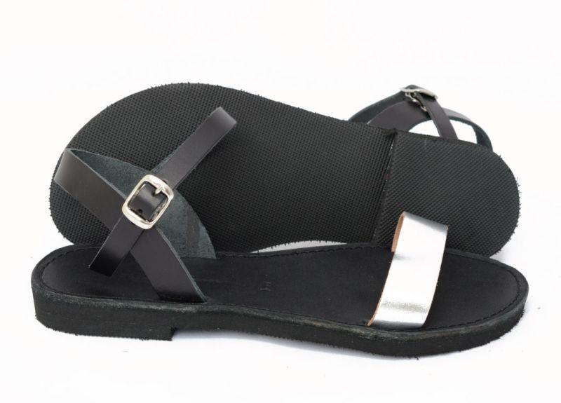 Sandale din piele naturală FUNKY CASUAL, ARGINTIU - NEGRU