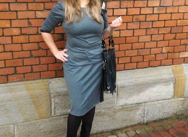 Tie Collar Plain Bodycon Dress