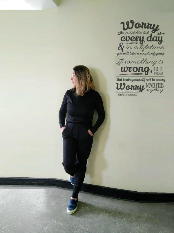 Black Loungewear Tracksuit Set-Maria
