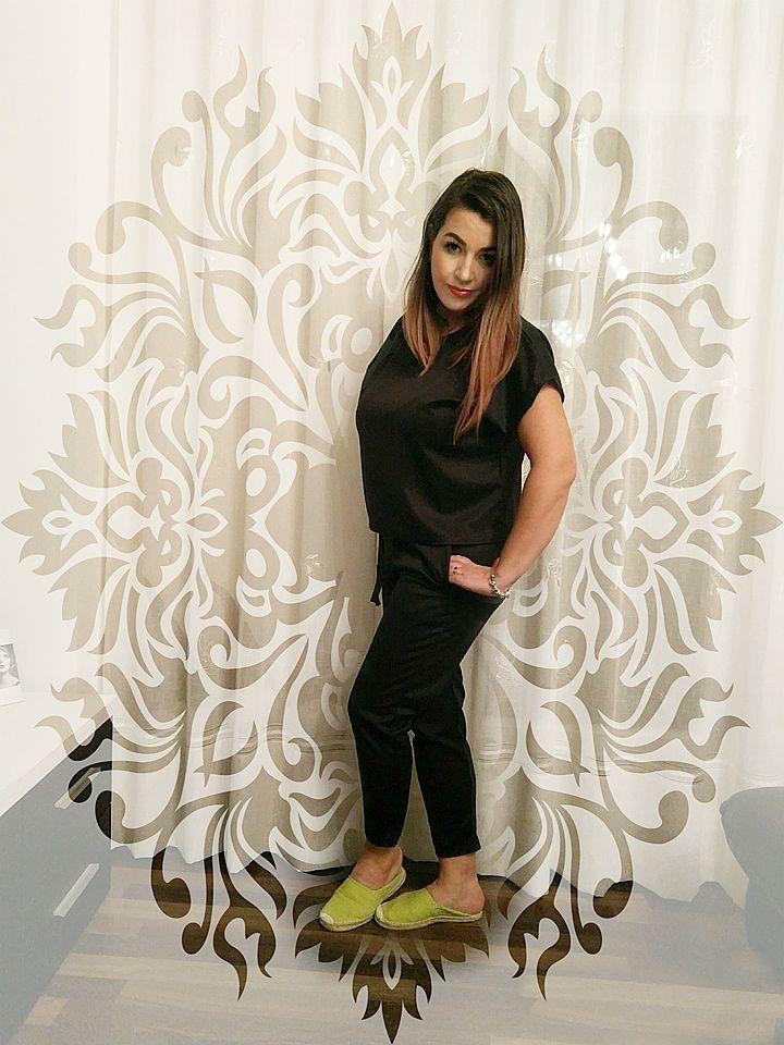Black Short Sleeve Boxy Loungewear Set - Lacy