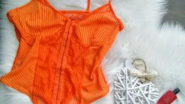 Orange Front Clasp Lace Corset Bodysuit