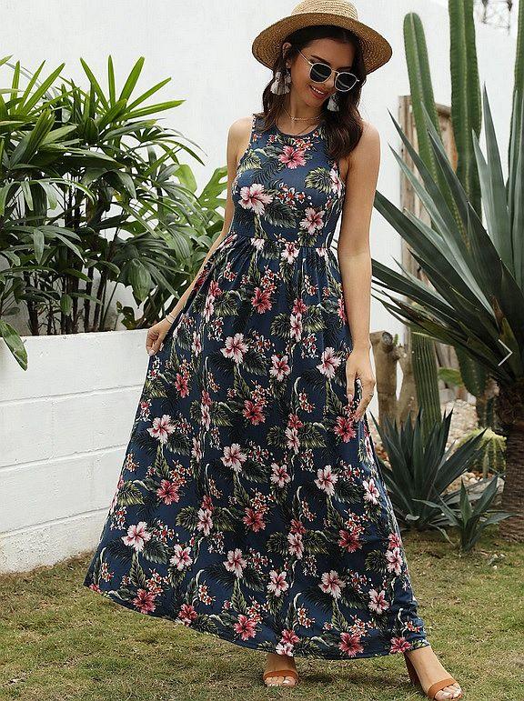 Floral Print Sleeveless Maxi Dress