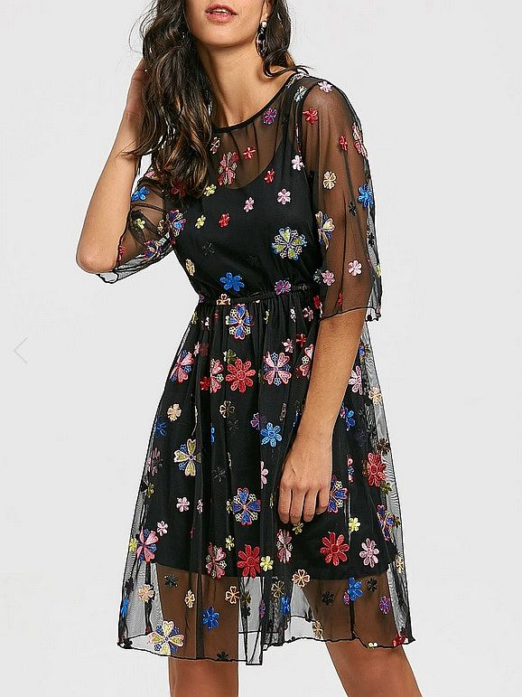 See Thru Embroidery Floral Dress and Cami Dress