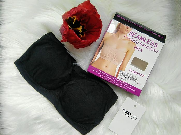 Black Seamless Padded Bandeau Bra from femmeluxefinery.co.uk