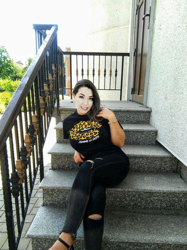 Black Leopard Print 'Femme La Mode' Slogan Print T-Shirts