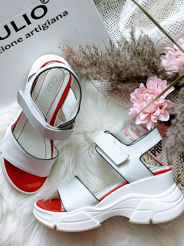 sandale albe piele